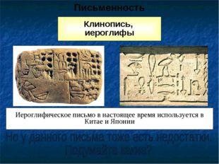 Клинопись, иероглифы Письменность Иероглифическое письмо в настоящее время ис