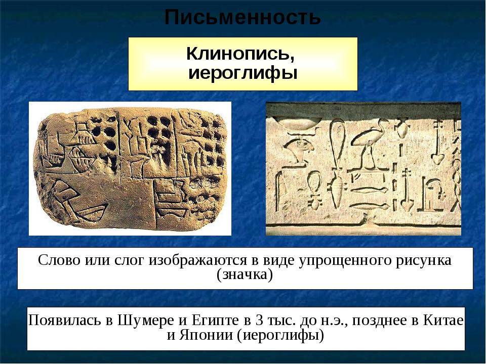 Клинопись, иероглифы Слово или слог изображаются в виде упрощенного рисунка (...