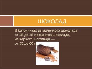 Вбатончиках измолочного шоколада от35до45процентов шоколада, изчерного