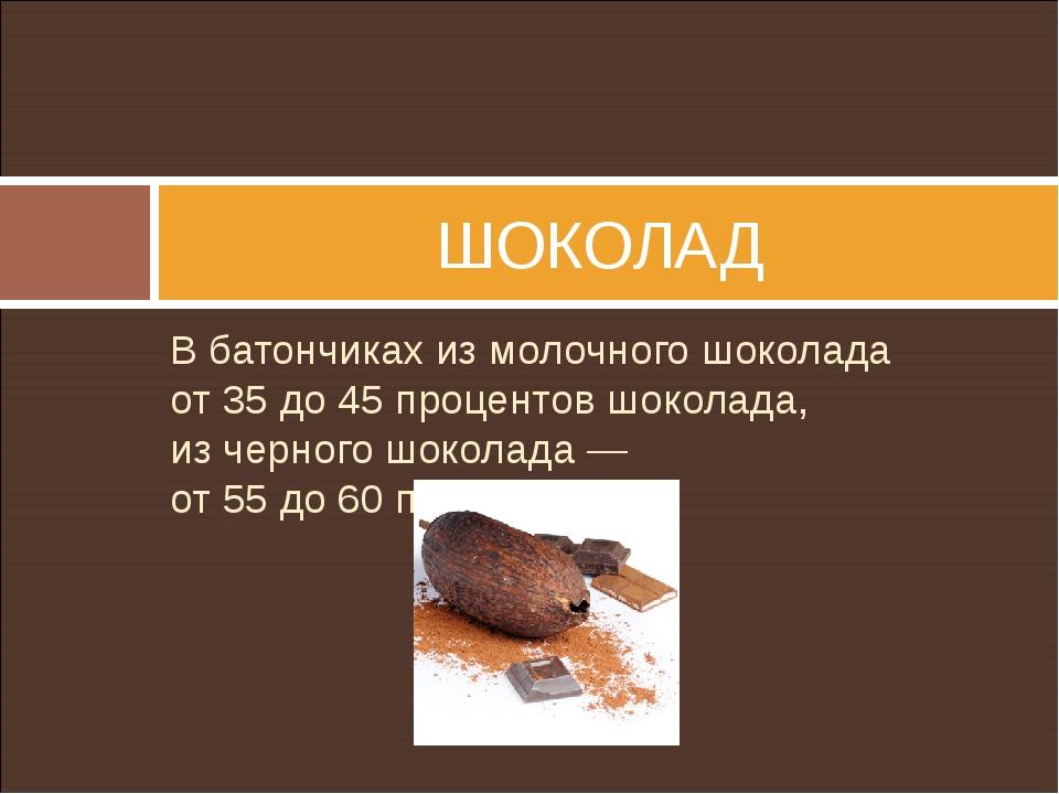 Вбатончиках измолочного шоколада от35до45процентов шоколада, изчерного...