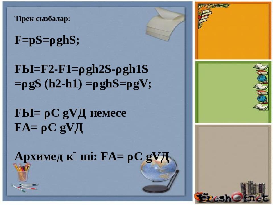 Тірек-сызбалар: F=pS=ρghS; FЫ=F2-F1=ρgh2S-ρgh1S =ρgS (h2-h1) =ρghS=ρgV; FЫ=...