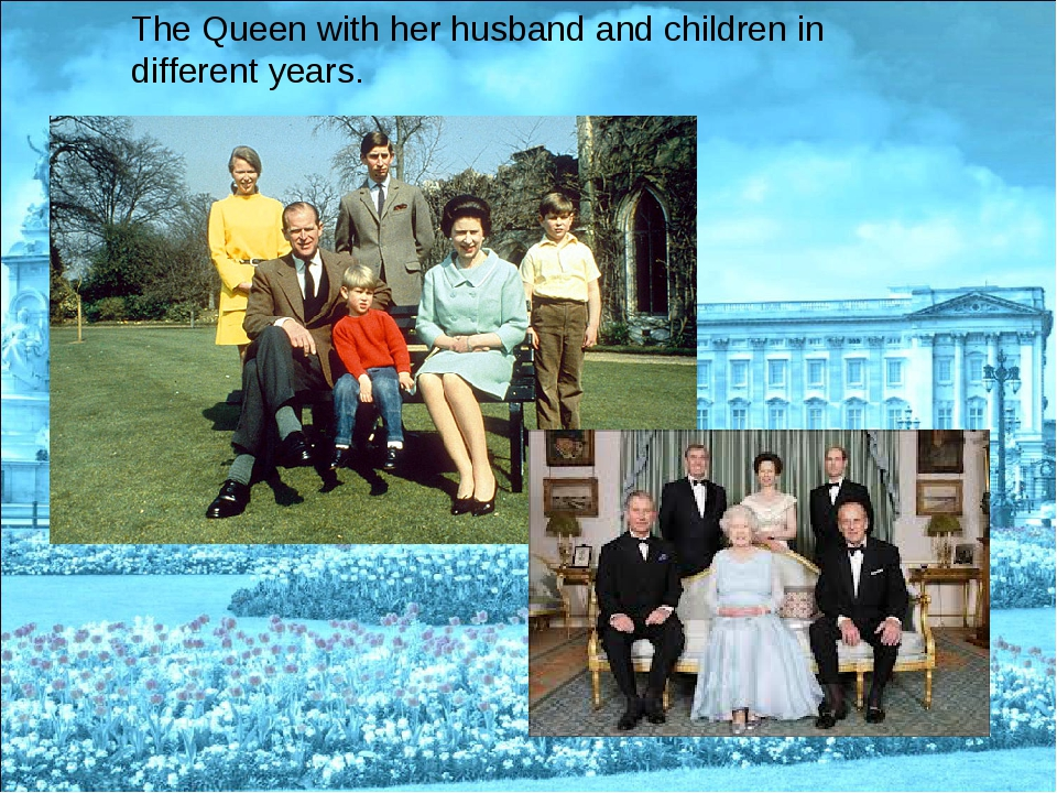 The Queen with her husband and children in different years.