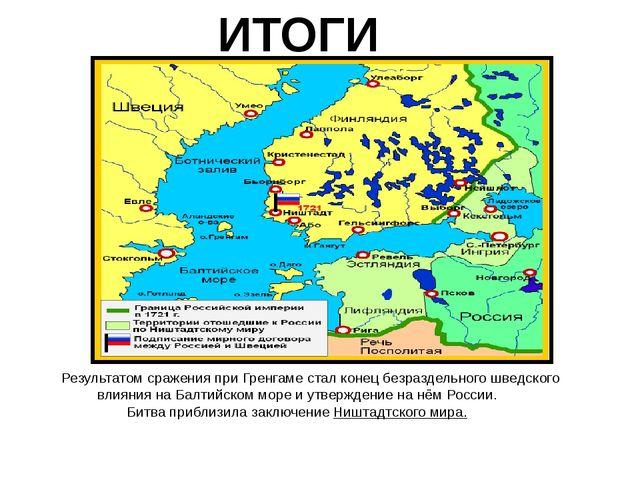 ИТОГИ Результатом сражения при Гренгаме стал конец безраздельного шведского в...