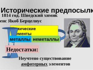 I. Исторические предпосылки 1) 1814 год. Шведский химик Йенс Якоб Берцелиус Х