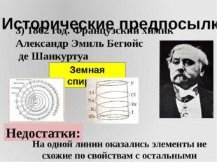 I. Исторические предпосылки 3) 1862 год. Французский химик Александр Эмиль Бе