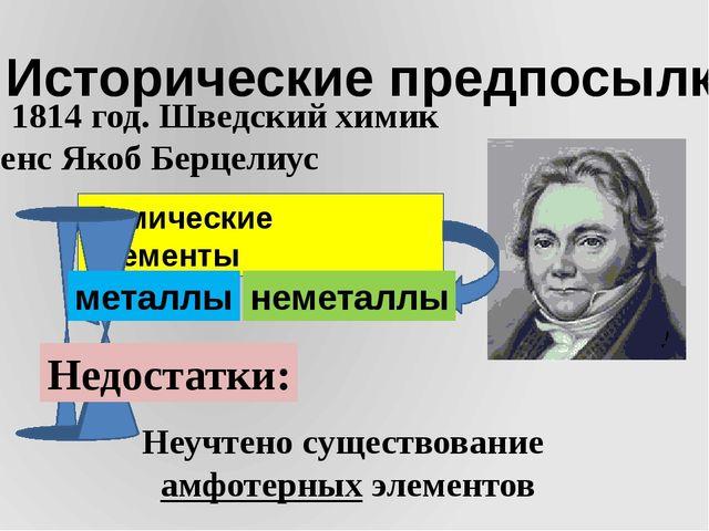 I. Исторические предпосылки 1) 1814 год. Шведский химик Йенс Якоб Берцелиус Х...