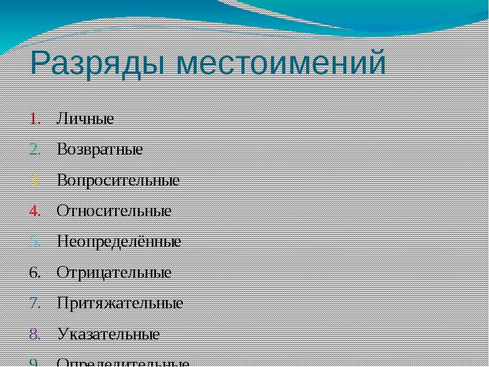 Разряды местоимений Личные Возвратные Вопросительные Относительные Неопределё...