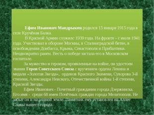 Ефим Иванович Мандрыкин родился 15 января 1915 года в селе Кручёная Балка. В