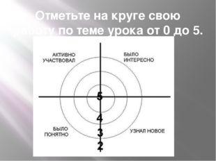 Отметьте на круге свою работу по теме урока от 0 до 5.