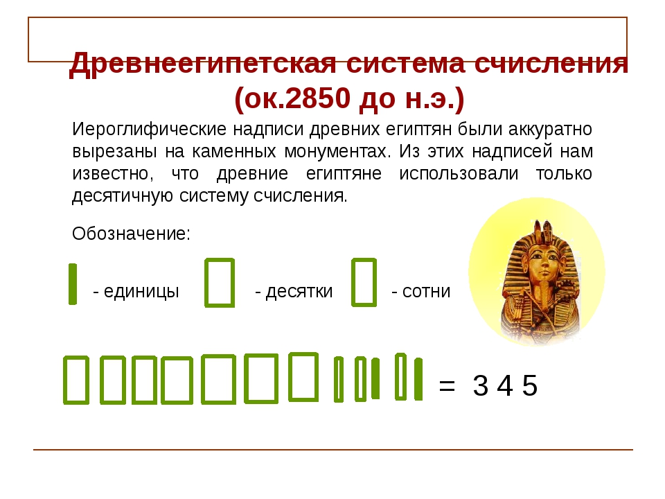 = 3 4 5 - единицы - десятки - сотни Обозначение: Иероглифические надписи древ...