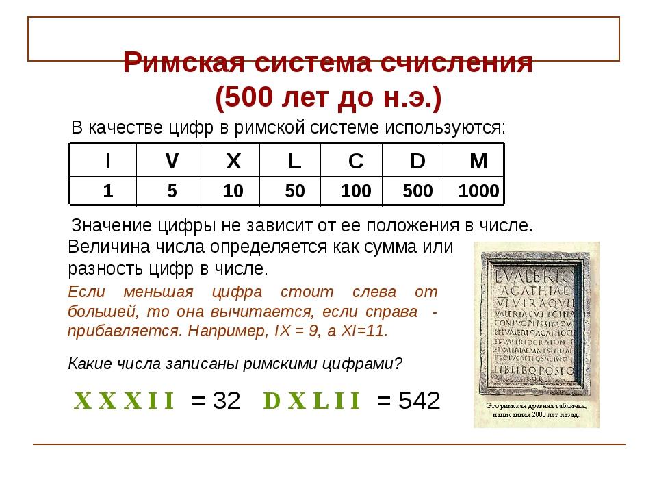 X X X I I = 32 D X L I I = 542 1000 500 100 50 10 5 1 M D C L X V I Римская с...