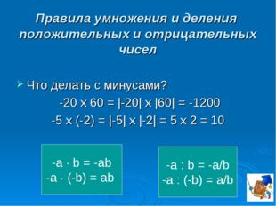Правила умножения и деления положительных и отрицательных чисел Что делать с