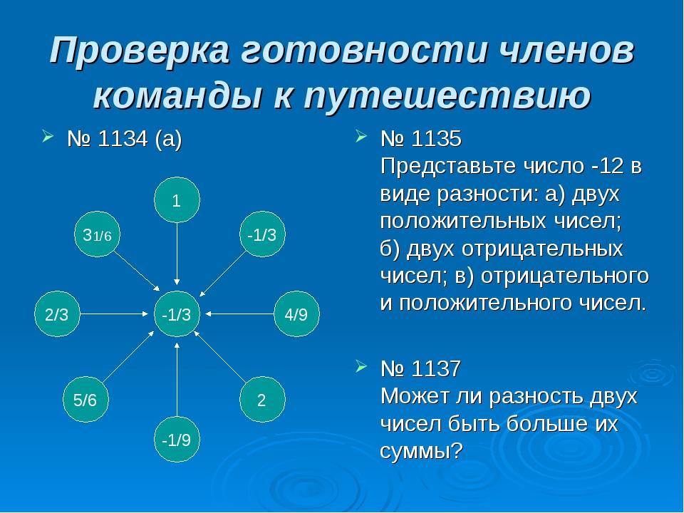 Проверка готовности членов команды к путешествию № 1134 (а) № 1135 Представьт...