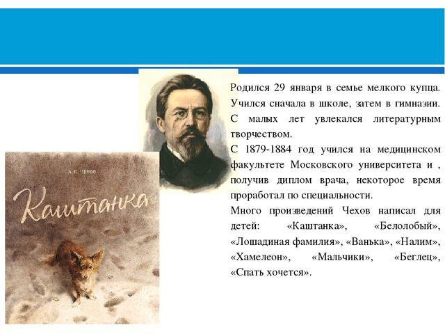 АНТОН ПАВЛОВИЧ ЧЕХОВ (1860-1904) Родился 29 января в семье мелкого купца. Уч...