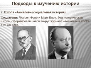 Подходы к изучению истории 2. Школа «Анналов» (социальная история). Создатели