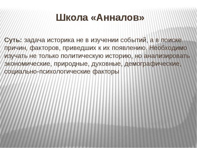 Школа «Анналов» Суть: задача историка не в изучении событий, а в поиске причи...