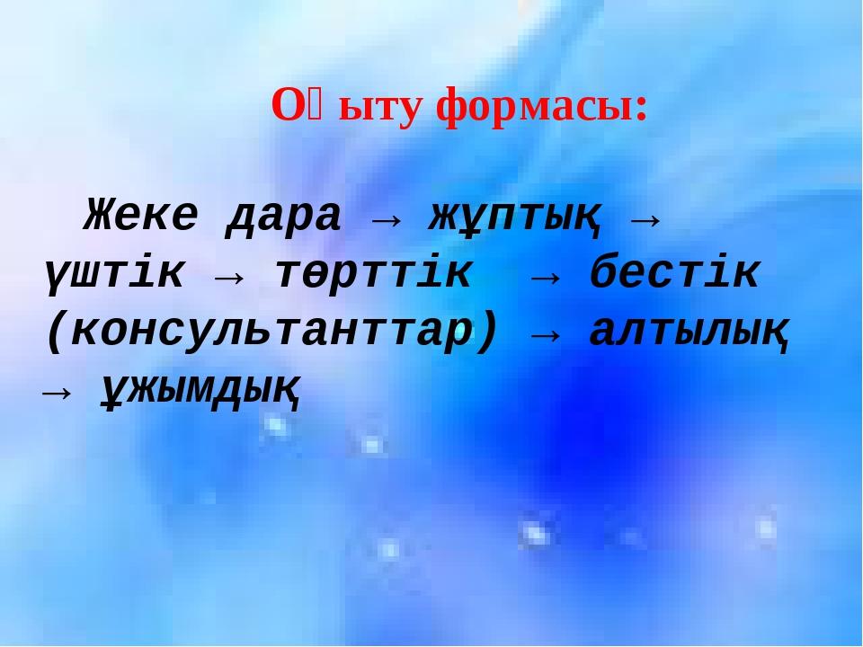 Жеке дара → жұптық → үштік → төрттік → бестік (консультанттар) → алтылық → ұж...