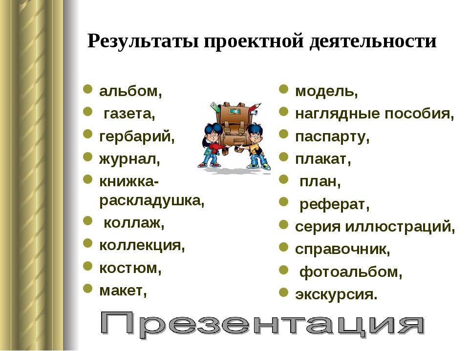 Результаты проектной деятельности альбом, газета, гербарий, журнал, книжка-ра...
