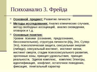 Психоанализ 3. Фрейда Основной предмет: Развитие личности Методы исследования