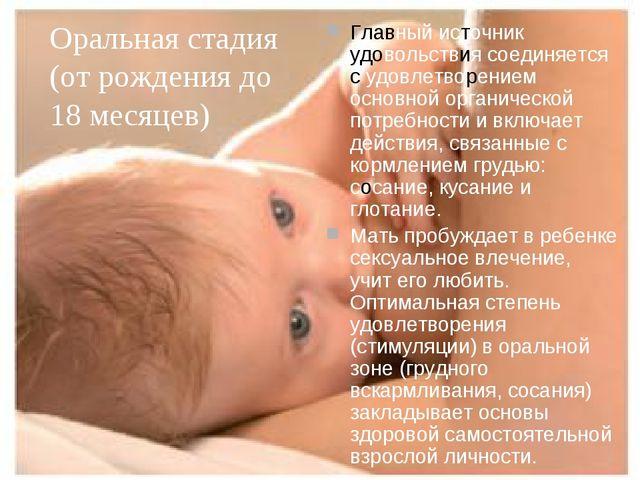 Оральная стадия (от рождения до 18 месяцев) Главный источник удовольствия сое...