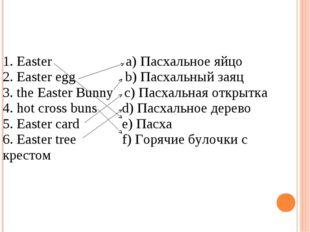 1. Easter a) Пасхальное яйцо 2. Easter egg b) Пасхальный заяц 3. the Easter