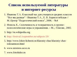 Список используемой литературы и интернет-ресурсы Иванова Т.А. Классный час д