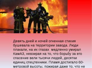 Девять дней и ночей огненная стихия бушевала на территории завода. Люди плака