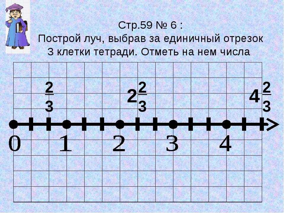 Стр.59 № 6 : Построй луч, выбрав за единичный отрезок 3 клетки тетради. Отмет...