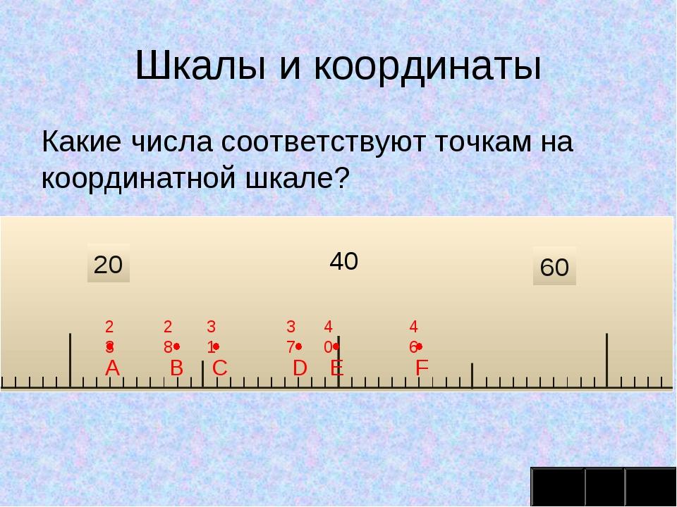 Шкалы и координаты Какие числа соответствуют точкам на координатной шкале? 20...