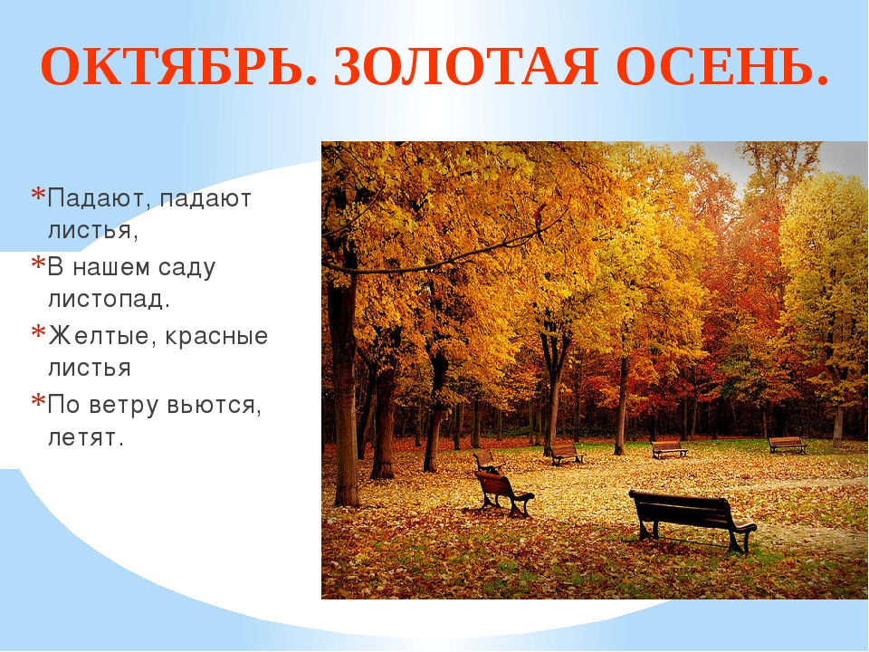 ОКТЯБРЬ. ЗОЛОТАЯ ОСЕНЬ. Падают, падают листья, В нашем саду листопад. Желтые,...