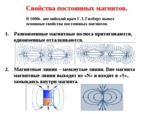 Свойства постоянных магнитов. 1. Разноименные магнитные полюса притягиваются,