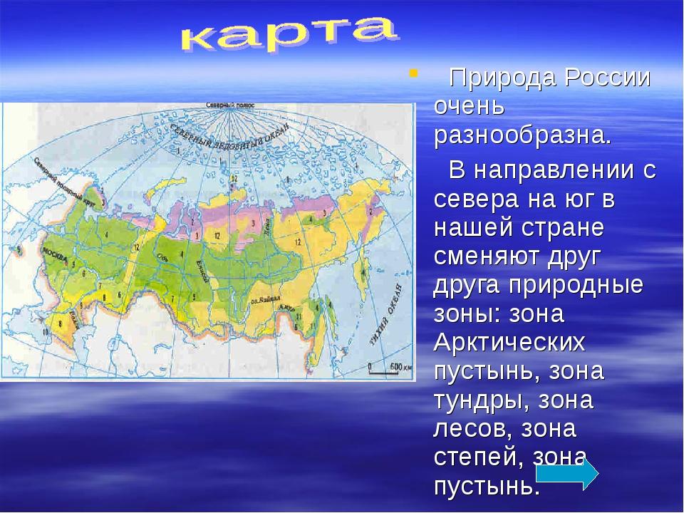 Природа России очень разнообразна.  В направлении с севера на юг в нашей ст...