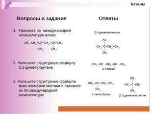 Назовите по международной номенклатуре алкан:  2. Напишите структурную форму