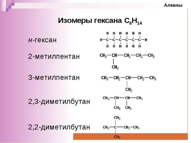 Изомеры гексана С6Н14 н-гексан 2-метилпентан 3-метилпентан 2,3-диметилбутан 2...