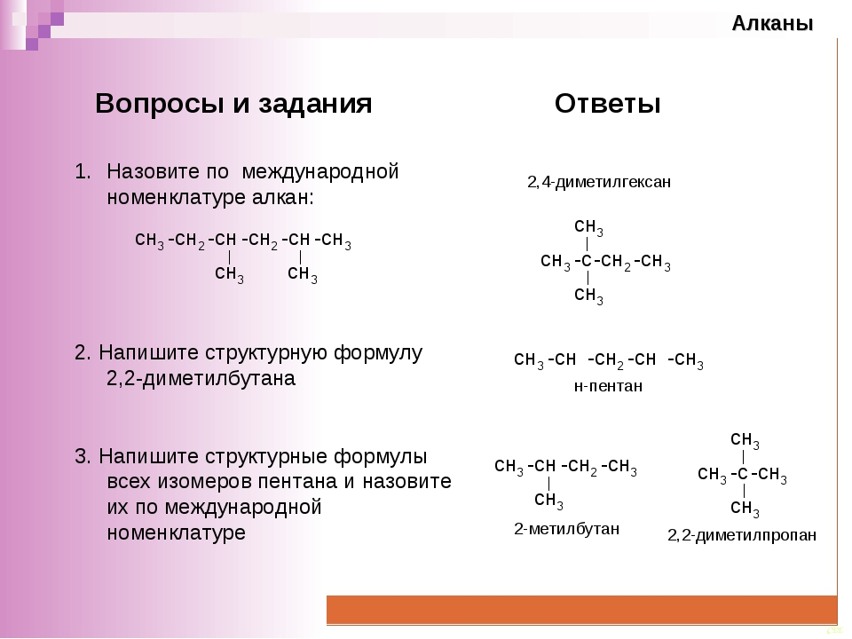 Назовите по международной номенклатуре алкан:  2. Напишите структурную форму...