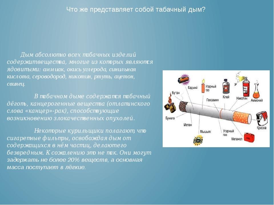 Что же представляет собой табачный дым?  Дым абсолютно всех табачных издели...