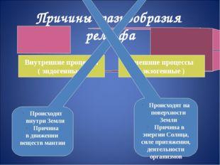 Причины разнообразия рельефа Внутренние процессы ( эндогенные ) Внешние проце