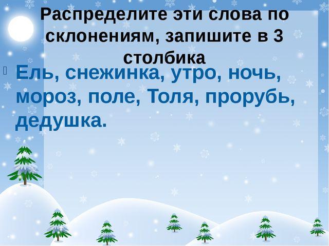 Распределите эти слова по склонениям, запишите в 3 столбика Ель, снежинка, ут...