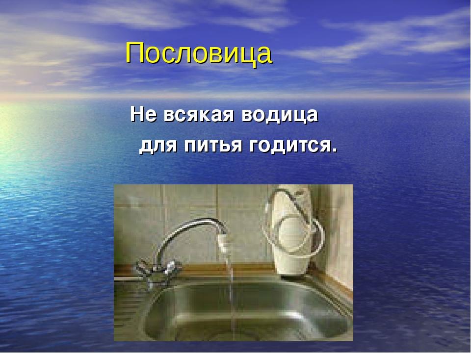 Пословица Не всякая водица для питья годится.