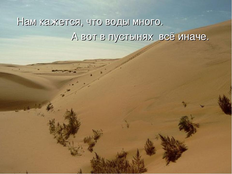 Нам кажется, что воды много. А вот в пустынях всё иначе.