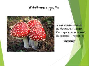 Ядовитые грибы А вот кто-то важный На беленькой ножке. Он с красною шляпкой,