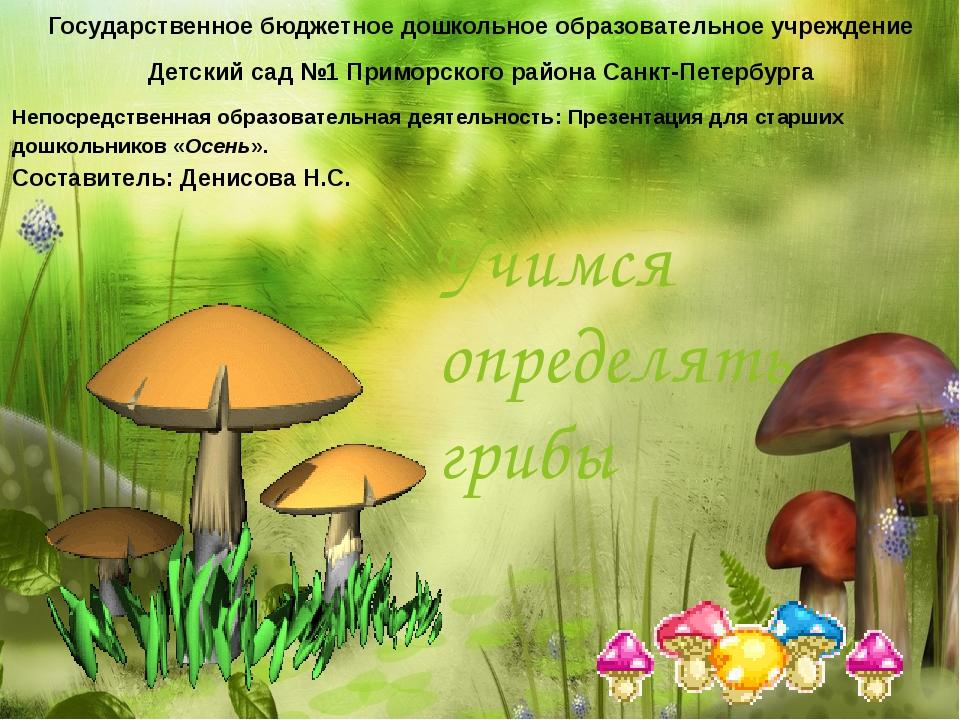 Учимся определять грибы Государственное бюджетное дошкольное образовательное...