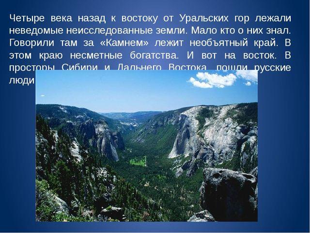 Четыре века назад к востоку от Уральских гор лежали неведомые неисследованные...