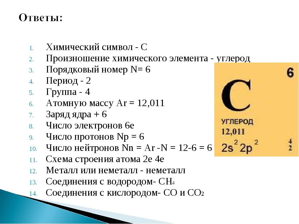 Химический символ - С Произношение химического элемента - углерод Порядковый...