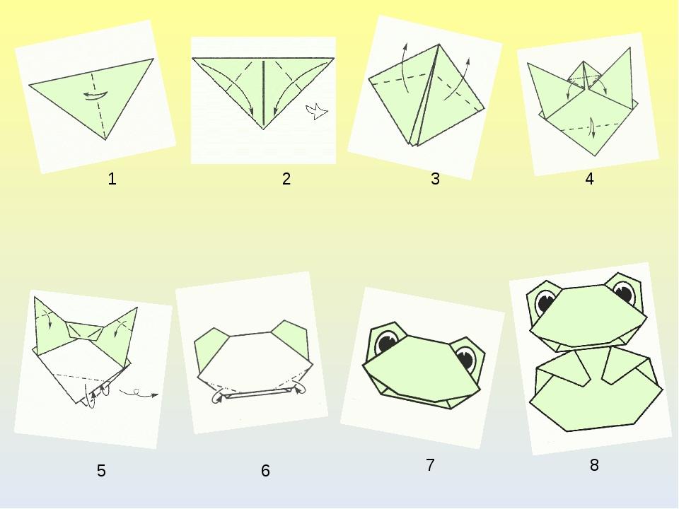 1 2 3 4 5 6 7 8 Схема лягушки-оригами
