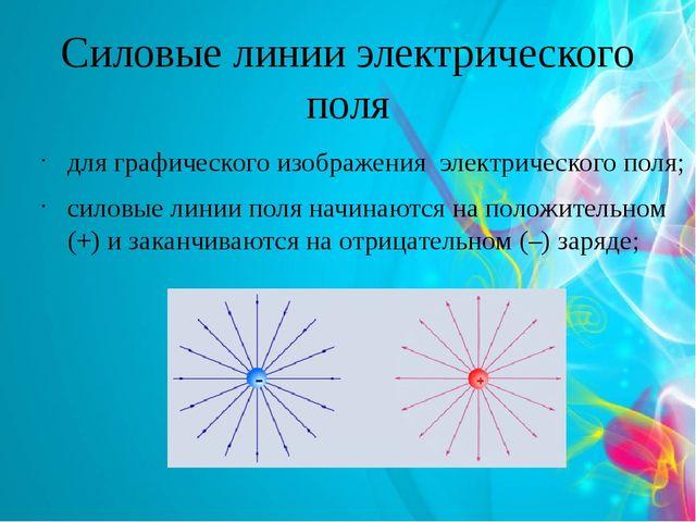 Силовые линии электрического поля для графического изображения электрического...