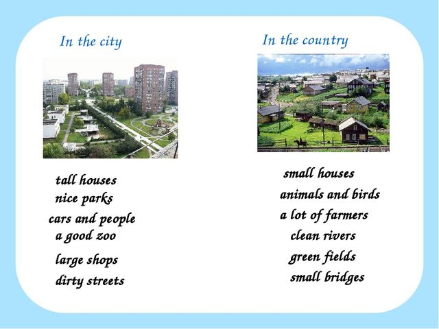 In the city In the country tall houses nice parks cars and people a good zoo...