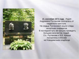 21 сентября 1973 года Лидия Андреевна Русланова скончалась от сердечного прис