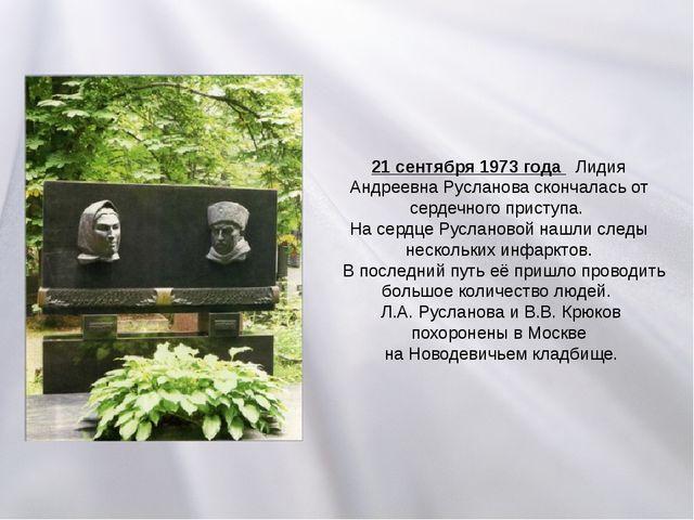 21 сентября 1973 года Лидия Андреевна Русланова скончалась от сердечного прис...