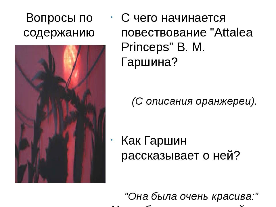 """Вопросы по содержанию С чего начинается повествование """"Attalea Princeps"""" В. М..."""